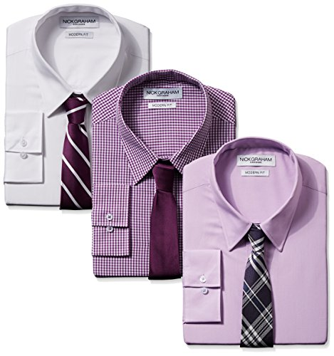 Nick Graham Everywhere Men's Modern Fit 3 Pack Solids and Gingham Point Collar Tie Sets Combo, Variety, 14