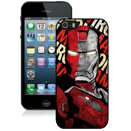 Coque,Fashion Coque iphone 5S Iron Man Comic Noir Screen Cover Case Cover Fashion and Hot Sale Design