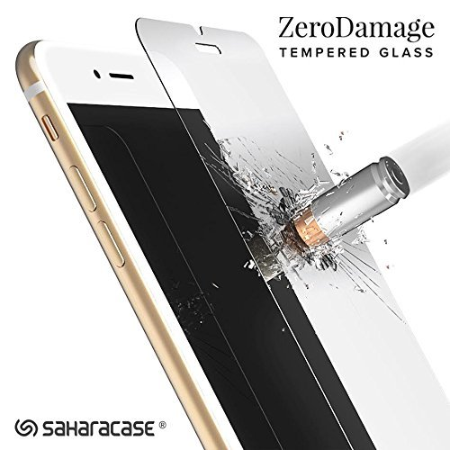 iPhone 8 Plus 7 Plus 6/6s Plus ZeroDamage Tempered Glass Screen Protector with (Installation Tool) .33m [Smooth Edge] - SaharaCase