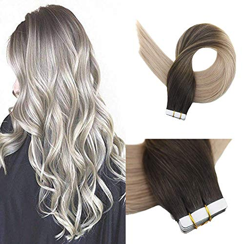Full Shine 20 inch Color #2 Fading to #18 and #60 Blonde Remy Hair Ombre Skin Weft Tape Hair Extensions Remy Hair Tape in Balayage Extentions Hightlight Tape in Hair Extensions 50gram Real Hair