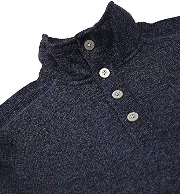 Van Heusen Solid Button Mock Sweater męski sweter z polaru: Odzież