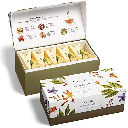 Tea Forte Herbal Retreat Calming Teas Presentation Box Tea Sampler Gift Set, 20 Assorted Variety Handcrafted Pyramid Tea Infuser Bags, Herbal Fruit Tea Blends (Tea Forte Herbal Tea Chest)
