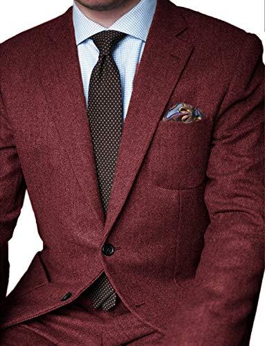 JYDress Mens 2 Piece Suits Herringbone Wool Blazer Tux & Trousers Burgundy ()