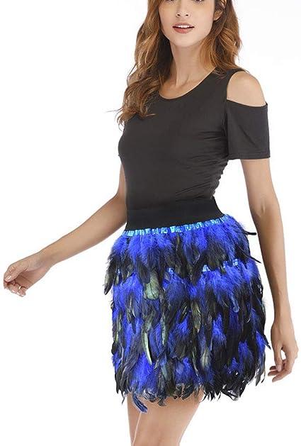 BOLAWOO-77 Falda Moda Mujer Elegante Jazz Pavo Real Plumas Mode De ...