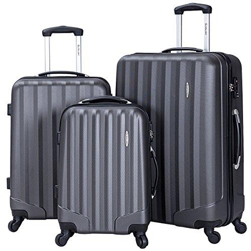 Goplus 3 Pcs Luggage Set ABS Hardshell Travel Bag Trolley Suitcase w/TSA Lock (Grey) by Goplus (Image #8)