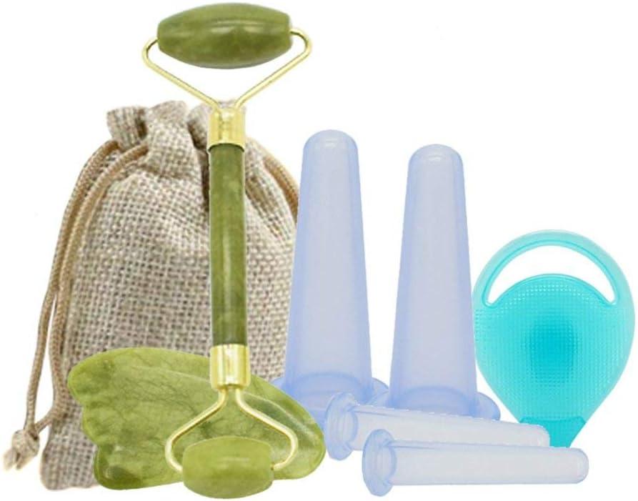 XXXKK Taza de silicona para masaje facial al vacío, ventosa para cuerpo, herramienta de relajación con rodillo de jade Gua Sha, kit de seguridad para terapia de masaje