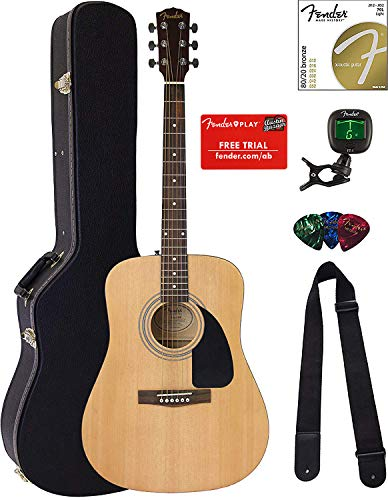 Fender FA-100 Dreadnought Acoustic Guitar – Natural Satin Bundle with Hard Case, Tuner, Strings, Strap, and Picks