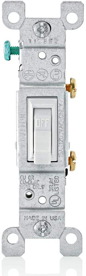 Leviton 1451-2WM 15 Amp, 120 Volt, Toggle Framed Single-Pole Ac Quiet Switch, Residential Grade, Grounding, 10-Pack, White - Wall Light Switches -