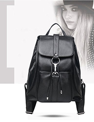 Women Black Vintage Real Genuine Leather Backpack Purse Travel Bag Schoolbag,Travel Shoulder Bag By CLAIRE CC by CLAIRE CC (Image #3)