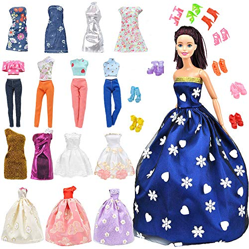 E-TING Lot 15 Items = 5 Sets Fashion Handmade Clothes Dress + 10 Pair Shoes for Girl Doll Xmas Random Style(Clothes+Wedding Dress + Short Skirt) -