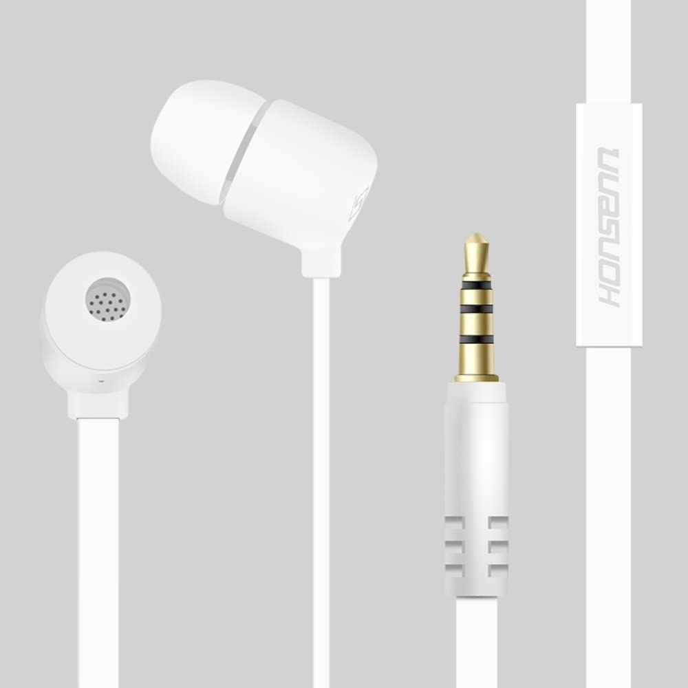 Honsenn in-Ear Earbuds with Mic, Tangle-Free Wired Earphones for iPhone, iPad, iPod, Samsung Galaxy, Android Smartphones, Tablets, Computers (White)