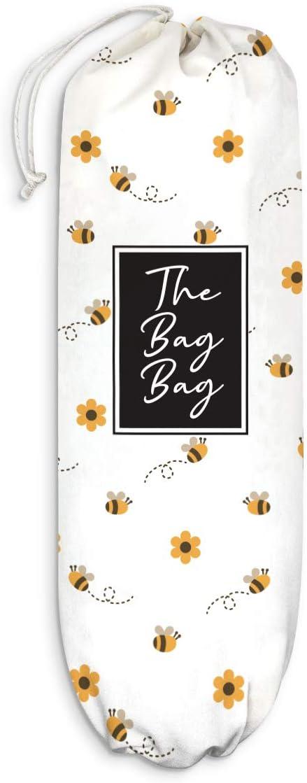 Honey Bee Plastic Bag Holder Grocery Shopping Bags Carrier Storage Organizer Dispenser, Home Kitchen Bathroom Farmhouse Decor, Gift for Hostess, Friend, Housewarming, Thanksgiving, Christmas
