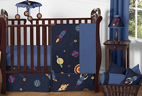 Sweet Jojo Designs 11-Piece Space Galaxy Rocket Ship, Planet, Galactic Baby Boy or Girl Bedding Crib Set without bumper