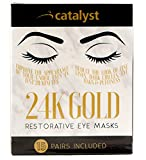 24K Gold Eye Mask With Collagen, 15 Pairs of Pads per Pack, Reduce Puffiness, Stimulate with Hyaluronic Acid to Fight Dark Circles and Under Eye Bags for Anti Aging Effects, Safe and Sterile Gel Packs