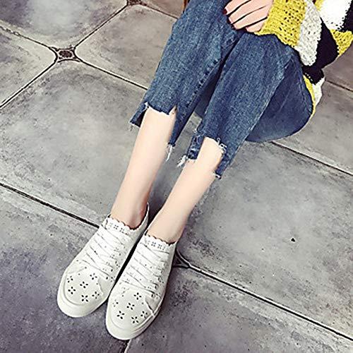 Scarpe Tonda PU Piatto A Pois Bianco UK6 Donna Per Sneakers Estate TTSHOES US8 Primavera Comoda Poliuretano CN39 Punta White EU39 xzPEtwq