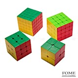 2x2 3x3 4x4 5x5 Speed Cube, FOME TOYS Rubiks Cube Plastic Stickerless Speed Cube Educational Toy Bundle Magic Cube Puzzle Toy 4 Pack Colorful Great Gift One Year Warranty