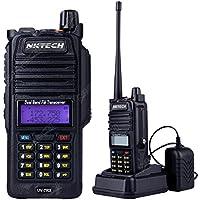 NKTECH UV-7RX Tri-Power High/Mid/Low 5W 3W 1W IP57 Waterproof Dustproof VHF UHF Dual Band 136-174/400-520MHz Two Way Radio Walkie Talkie Transceiver 7.4V Li-ion Batteries Accessories