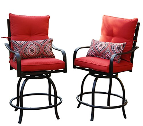 egree Swivel Two Bar Chairs (2 Chairs W/Red Seat and Back Cushions, 2 Nice Patterned Pillows Included) ()