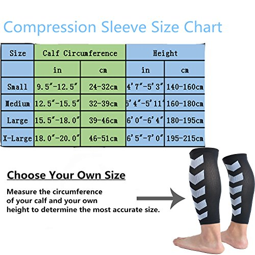 Faladi High Performance Graduated Calf Compression Sleeves for Men& Women (1 Pair)-Help Relief Shin Splints, Calf Strain and Reduce Fatigue -Great for Running,Cycling,Maternity,Travel&More (L/XL) by Faladi (Image #6)
