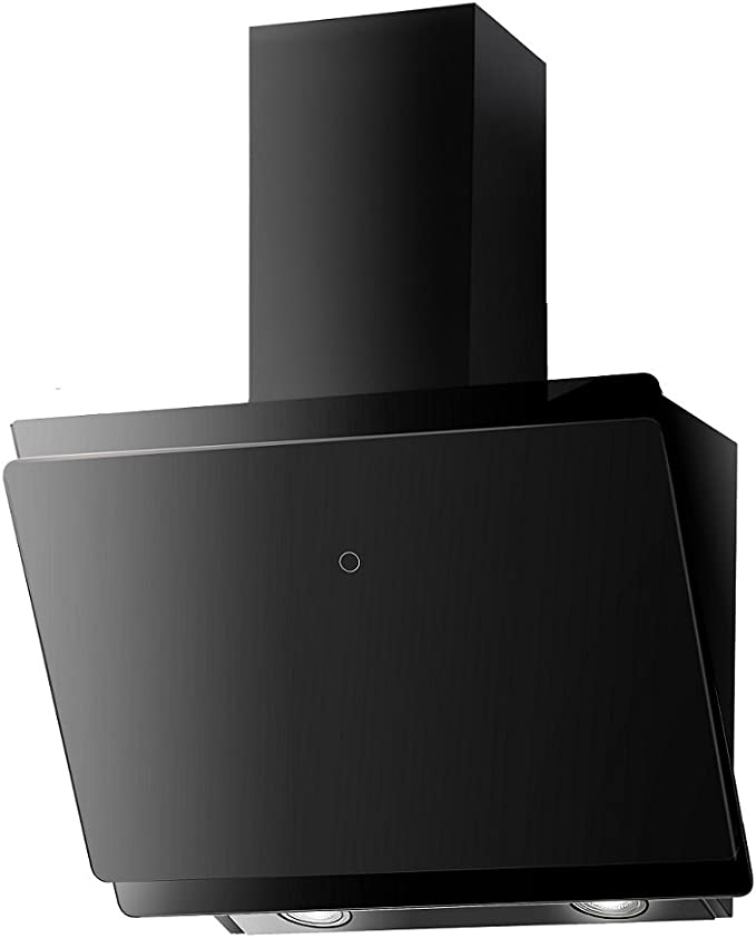 Calidad Campana extractora sin cabeza. Eficiencia energética A+. Campana angular. Campana de pared diagonal Vlano Mira 600 BK. 60 cm. Diseño de cristal negro. Control táctil. Luz led ECO. 47 dB (A).