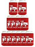 Funny Beer Coolie I Like Pig Butts 12 Pack Can Coolies Red
