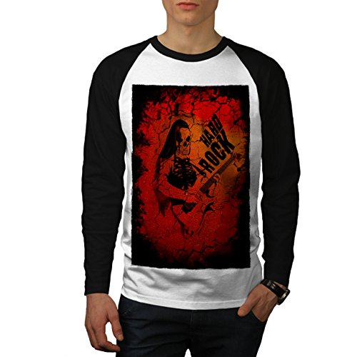wellcoda Hard Rock Guitar Music Mens Baseball Long Sleeve, Dead Raglan Shirt White (Black Sleeves) XL