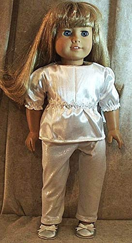 Doll Clothes Made 2 Fit American Girl fits 18in Top Legging White Silver