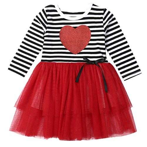 Baby Valentines Day Clothes Gift Kid Girl Spring Long Sleeve Striped Heart Party Tulle Skirt Dress Red