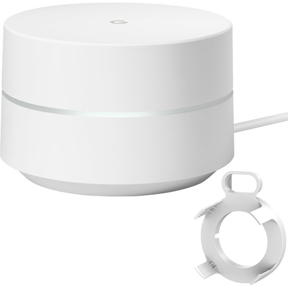 Google Wi-Fi 1-Pack (GA00157-US) with Deco Gear WiFi Outlet Wall Mount White by Google