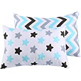 Kids Toddler Pillowcases UOMNY 2 Pack 100% Cotton Baby Pillow Cover Cases Protectors 13 x 18 for Kids Bedding Chevron stripes and Star