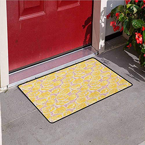 (GloriaJohnson Flower Welcome Door mat Hand Drawn Romantic Yellow Roses Blooming in Spring Season Floral Arrangement Door mat is odorless and Durable W29.5 x L39.4 Inch Yellow Blush)