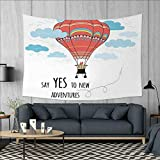 Cartoon Art Wall Decor Inspirational Quote Say Yes to New Adventures Cute Hand Drawn Hot Air Balloon Tapestry Wall Tapestry W60 x L51 (inch) Coral Sky Blue