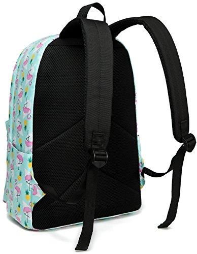 School Backpacks for Girls,Vaschy Cute Lightweight Water-Resistant w 14in Padded Laptop Sleeve in Pineapple Flamingos by Vaschy (Image #5)