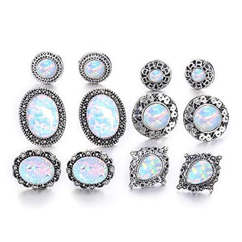 Lx10tqy 6 Pairs/Set Fashion Women Round Oval Drop Faux Opal Ear Stud Earrings Jewelry Antique Silver