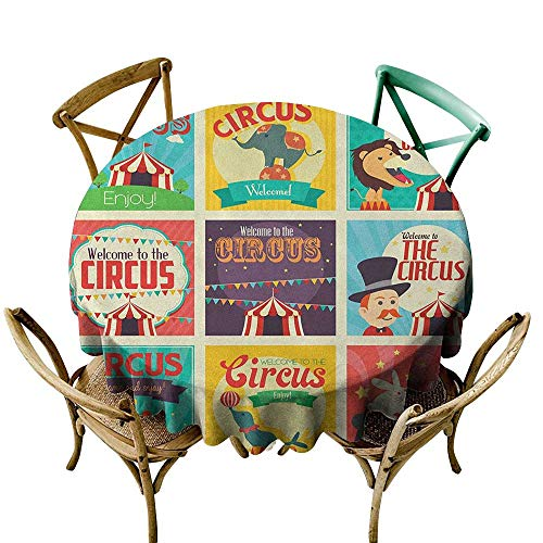Wendell Joshua Picnic Tablecloth 48 inch Circus,Collection of Old Circus Icons Carnival Magicians Old Fashioned Nostalgic Festive, Multicolor Printed Indoor Outdoor Camping Picnic Circle Table Cloth ()