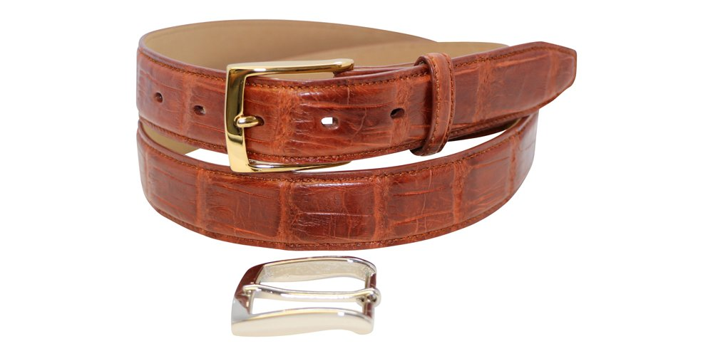 Genuine American Alligator Men's Belt Semi-Gloss and Gloss - Gold & Silver Buckles Included – Factory Direct Price - Gift Box - 1 ¼ inch (32mm) (Semi-Gloss Cognac, 38 - for 36'' Waist/Pants)