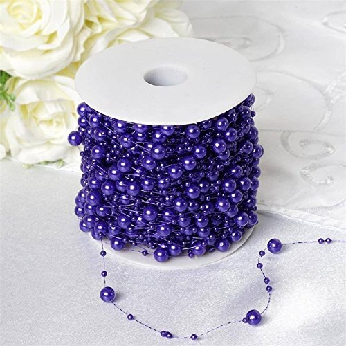BalsaCircle 62 feet Purple Faux Pearl Beads String Garland String Roll - Wedding Party Crafts DIY Centerpieces Favors Decorations (Wholesale Beads Party)