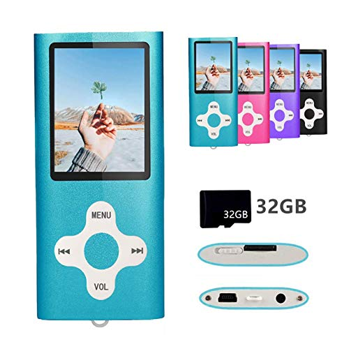 Gerskji MP3 Player/MP4 Player with a 32GB TF Card Expandable up to 64GB, Ultra Slim Portable Music Player with FM Radio/Voice Recorder/Video/Photo View, Special Design for Sport and Music Lovers