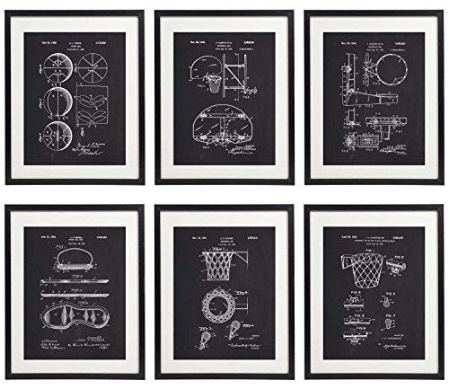 IDIOPIX Basketball Patent Home Decor Art Print Set of 6 Prints UNFRAMED No.1