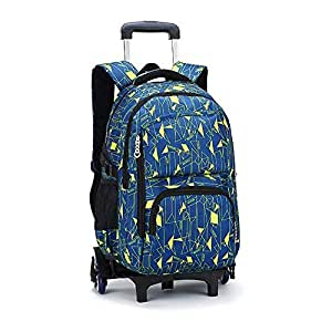TONGSH Rolling Backpack Multifunction Wheeled Backpack Trolley Rolling Backpack Luggage School Travel Book Students School Bags with Six Wheels Decompression Backpack (Color : D)