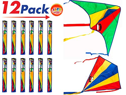 2CHILL Delta Kite Nylon Large in Bulk (Pack of 12) Plus 1 Bouncy Ball - Easy to Assemble, Launch, Fly - Premium Quality 9877-12p ()