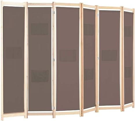 mewmewcat Biombo marrón con 6 tabiques de Estructura de Abeto Macizo y Estructura de Tela 240x170x4 cm Color Marrón: Amazon.es: Deportes y aire libre