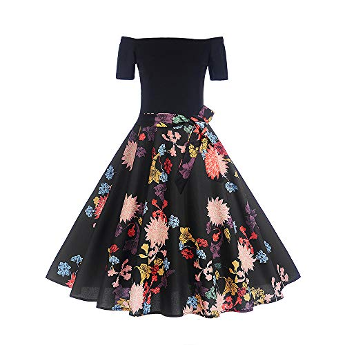 AKwell Party Dress for Women Christmas Short Sleeve Xmas Flower Patchwork Swing Dress Retro One Shoulder Bodycon Doll Skirt