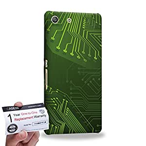 Case88 [Sony Xperia M5] 3D impresa Carcasa/Funda dura para & Tarjeta de garantía - Art Fashion Green 3D Standard Circuit Board