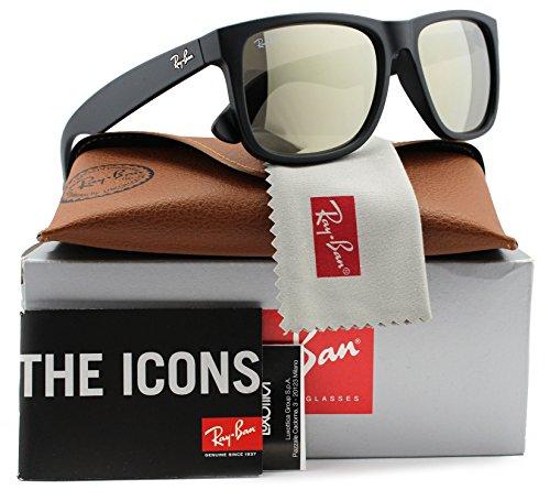 Ray-Ban RB4165 Justin Sunglasses Matte Black w/Gold Mirror (622/5A) 4165 6225A 55mm - Ray Justin Ban Black Matte
