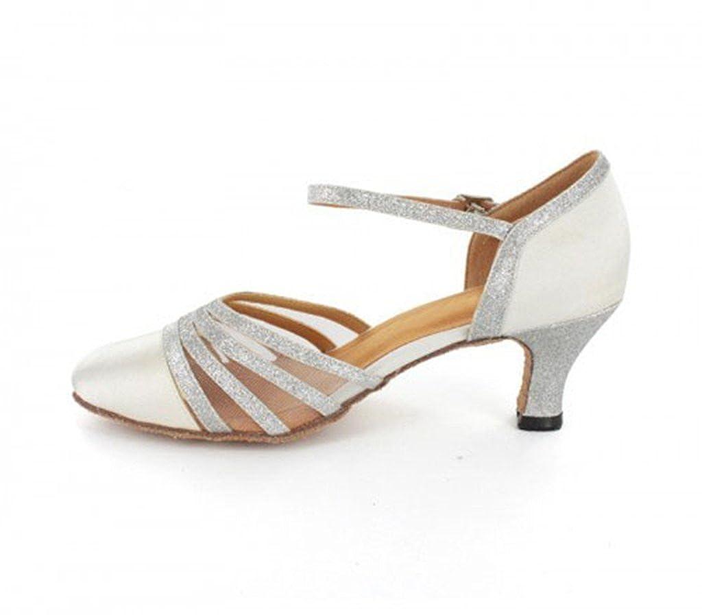 TDA Women's Heel Mid Heel Women's Closed Toe Mesh Glitter Satin Latin Dance Pumps Wedding Shoes B071XCJ1QV Dance 63014a
