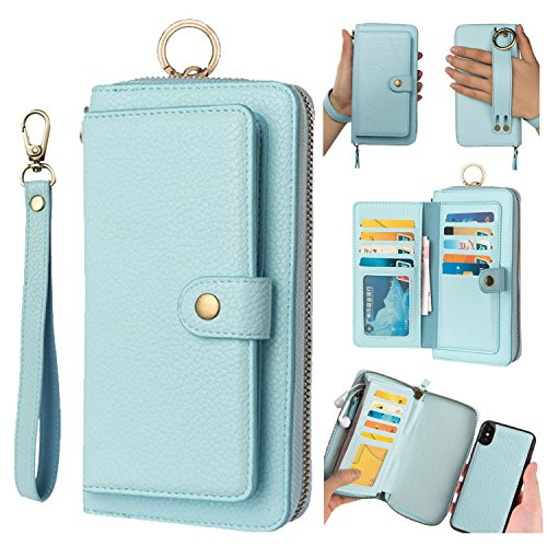 iPhone XS Max Leather Flip Case Cover,iPhone XS Max Wallet Case For Women and Men,AIFENG [14 Card Holder][Zipper][Magnetic Detachable] Wallet Folio Case Leather Pouch For iPhone XS Max(6.5