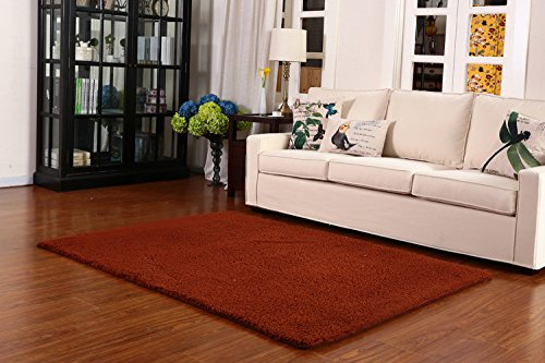 Rooms 4 Floors (Super Soft Modern Shag Area Anti-Slip Rugs Living Room Carpet Bedroom Rug for Children Play Solid Home Decorator Floor Rug and Carpets 4- Feet By 5- Feet)