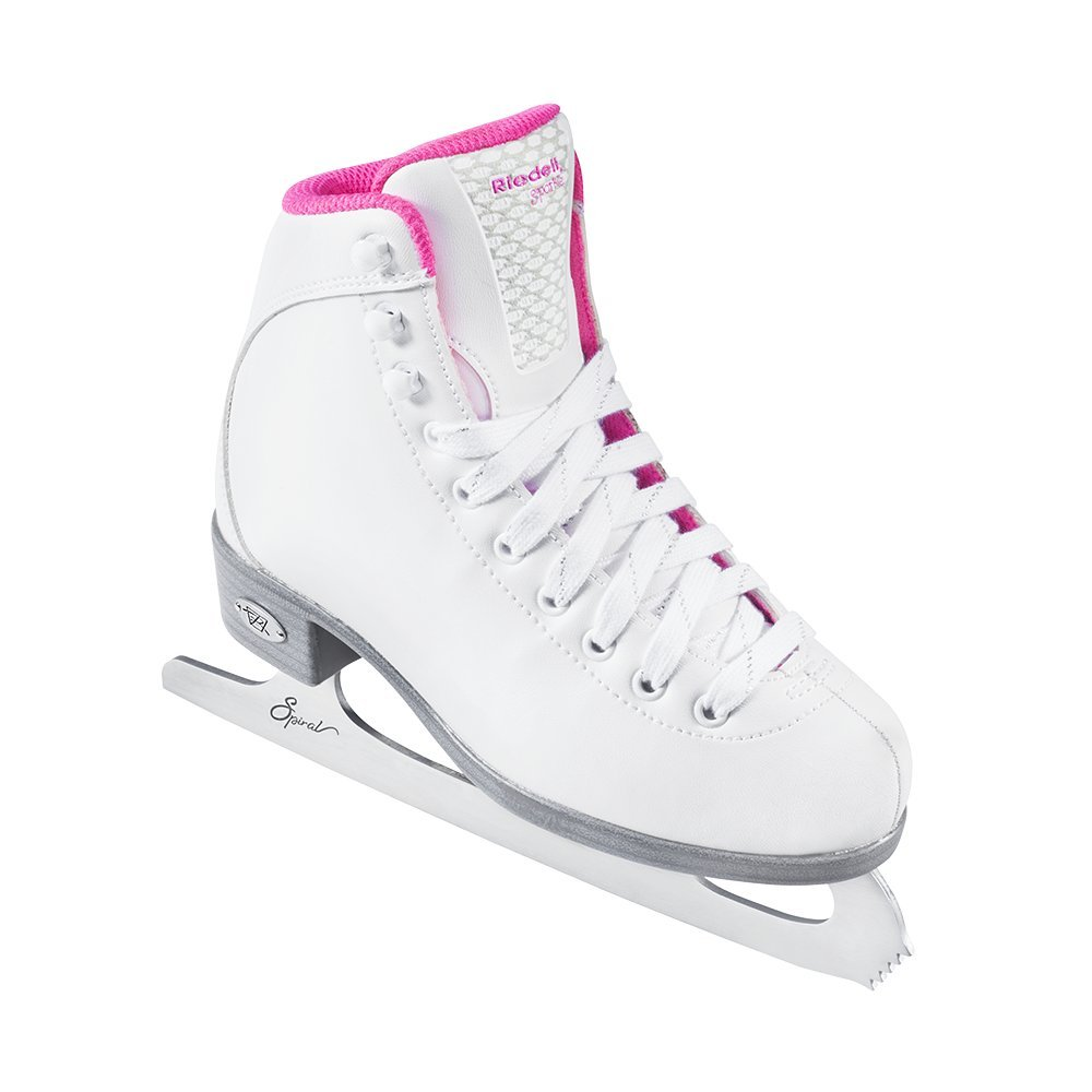 Riedell Skates - 18 Sparkle Jr. - Youth Beginner Soft Figure Ice Skates with Steel Blade for Girls | White | Size 1 Junior