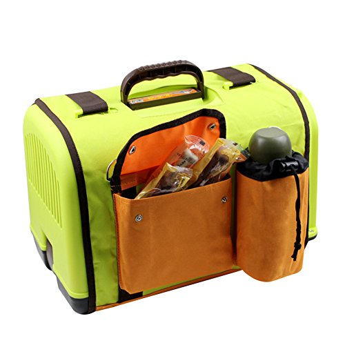 Happy Pet Dog Cat Rabbit Airline Approved Plastic Kennel Travel Carrier Car Travel Vet Visit Pet Carrier (Green with cover)